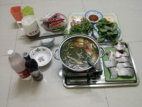 Cá chẽm nấu lẩu