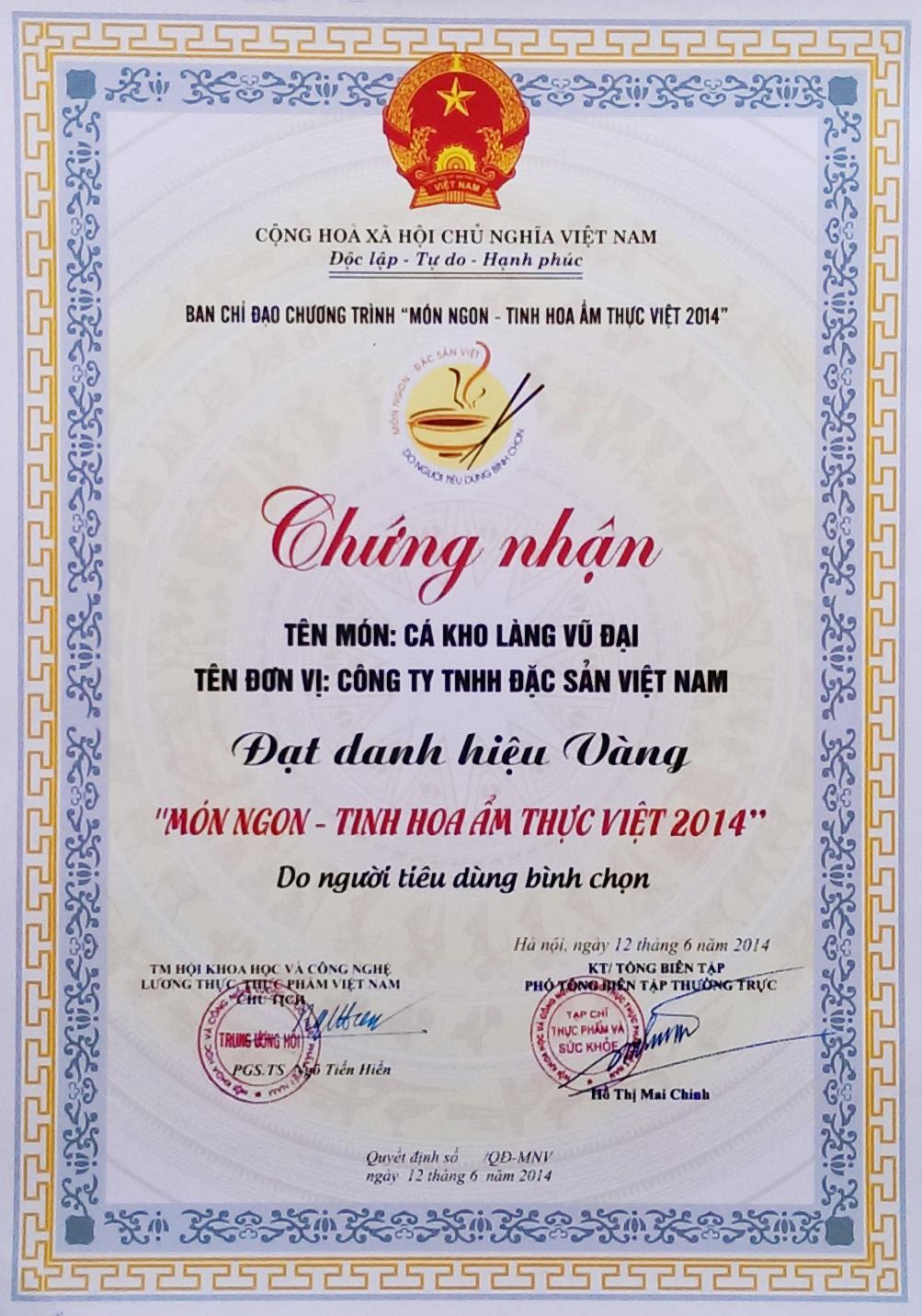 Chứng nhận danh hiệu Vàng - Món ngon tinh hoa ẩm thực Việt 2014