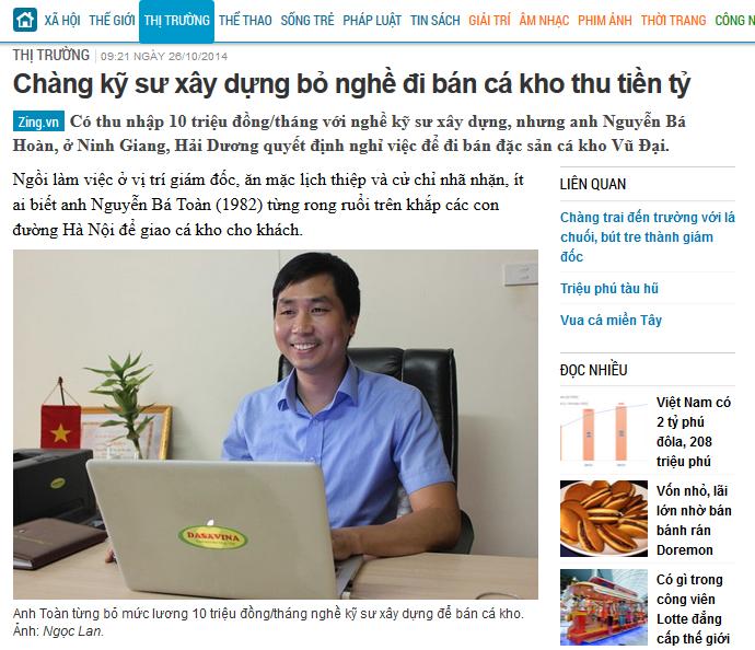 Báo zing viết về Chàng kỹ sư Nguyễn Bá Toàn dũng cảm bỏ nghề đi kho cá