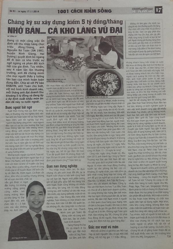Báo đời sống và hôn nhân viết về chàng kỹ sư kho cá Nguyễn Bá Toàn