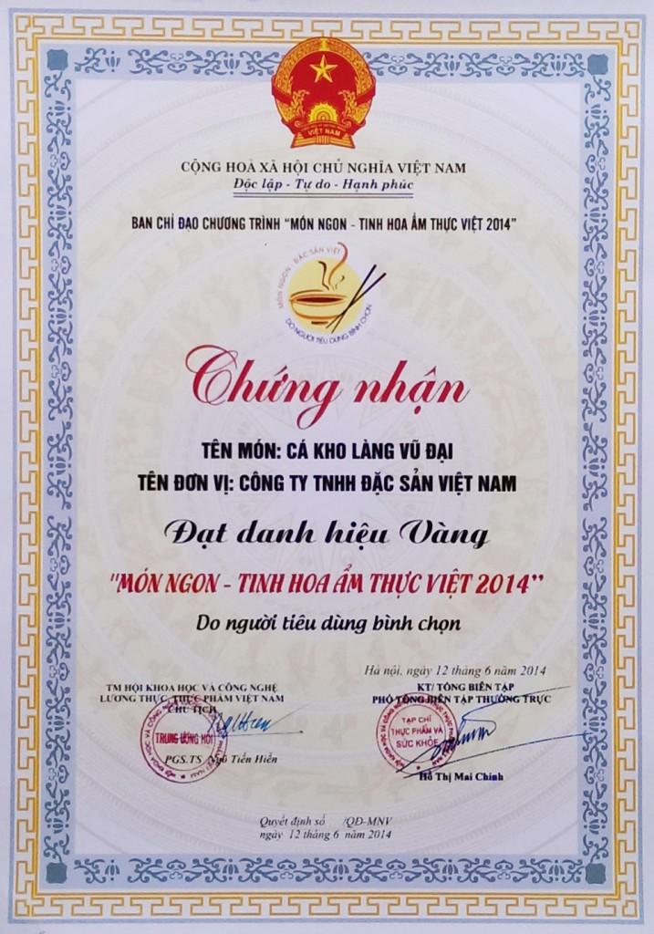 """DASAVINA đạt danh hiệu vàng """"Món ngon tinh hoa ẩm thực Việt 2014"""""""