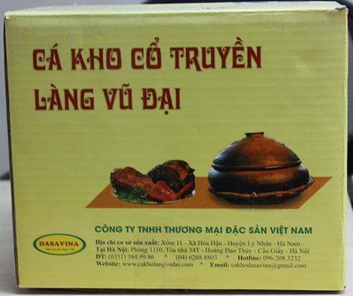 Hộp cá kho phải có logo - DASAVINA là thương hiệu uy tín của công ty Đặc Sản Việt Nam