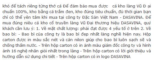 Cá kho của công ty Đặc Sản Việt Nam - DASAVINA cam kết 100% cá trắm đen nuôi ốc nên khách hàng hoàn toàn yên tâm