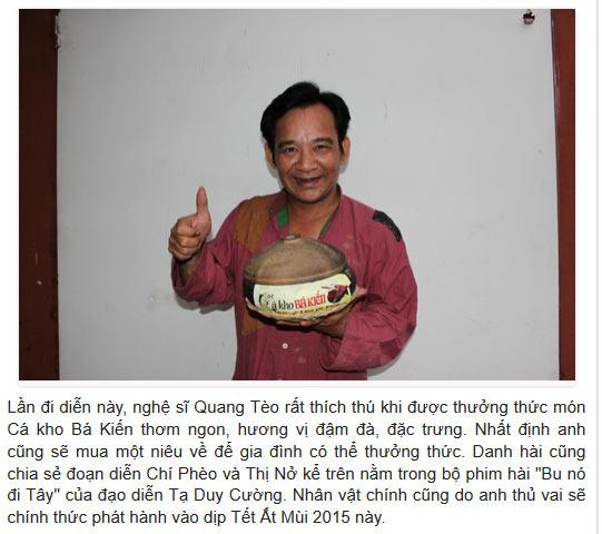 Chí Phèo Quang Tèo chỉ mê món Cá kho Bá Kiến