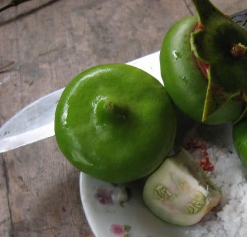 Trái bần xanh chấm muối ớt