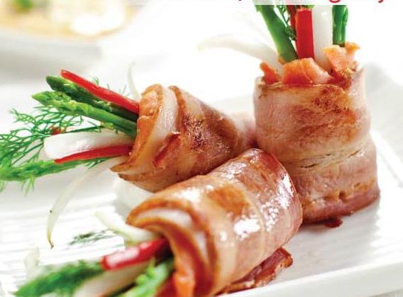 Cá hồi cuộn măng tây cực ngon cực bổ