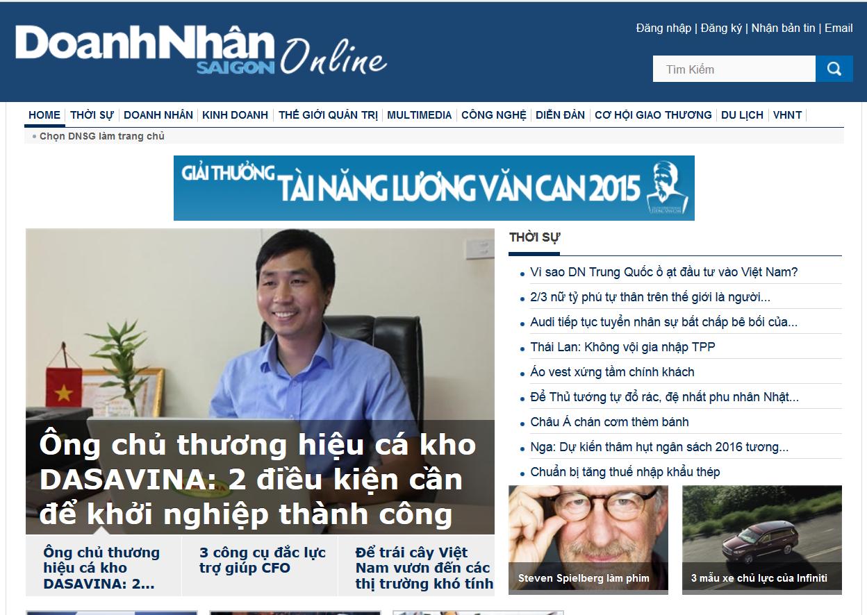 Báo Doanh Nhân Sài Gòn đưa tin về Ông chủ của Cá Kho Bá Kiến